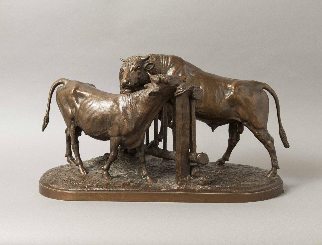 "Isidore Bonheur (1827-1901) Bronze, ""Vachette et"
