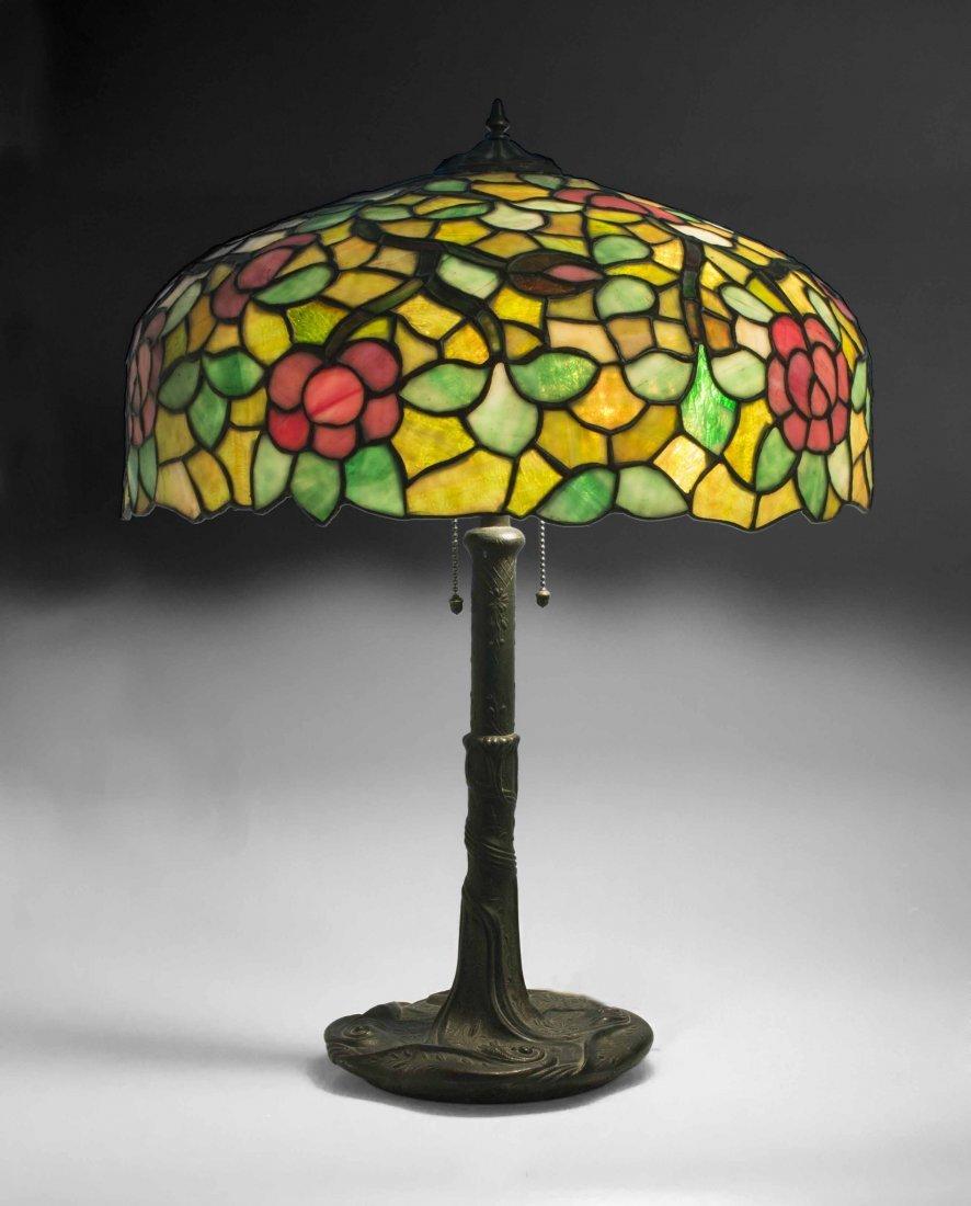 Art Nouveau Bronze Lamp, Attrib. Chicago Mosaic Lamps