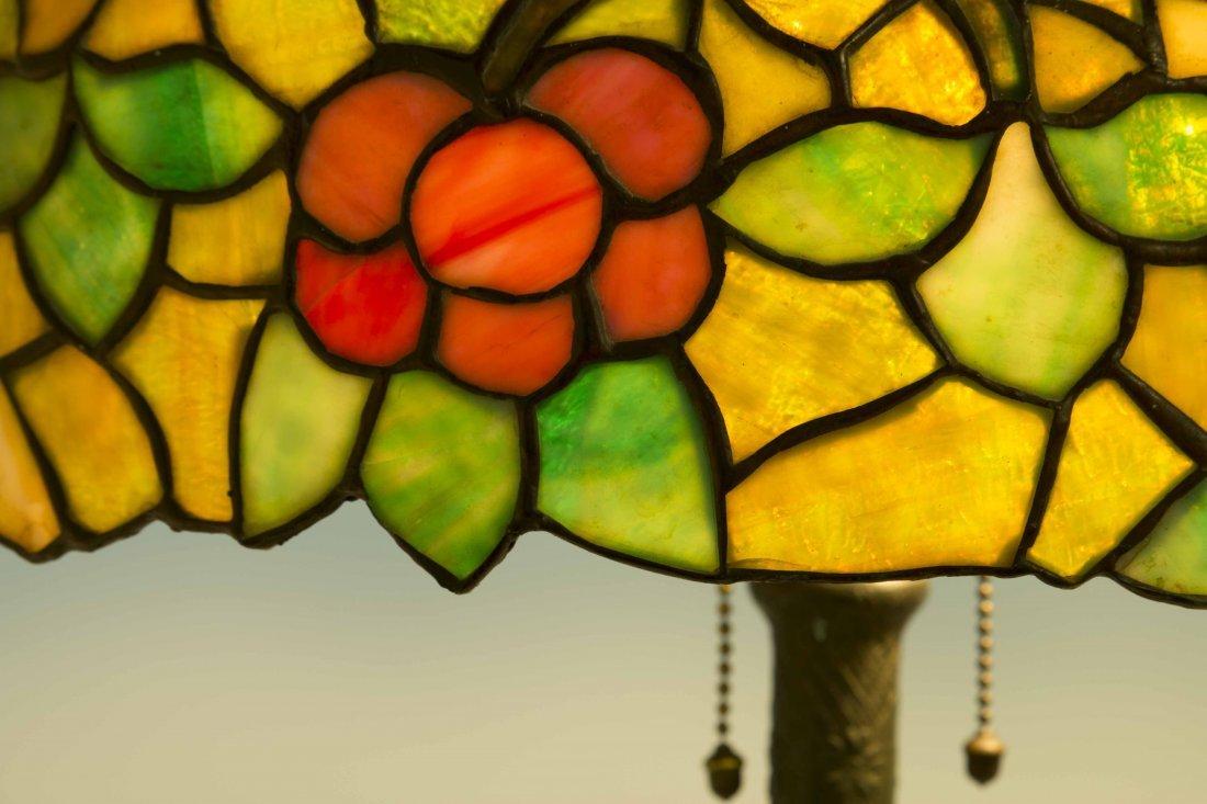 Art Nouveau Bronze Lamp, Attrib. Chicago Mosaic Lamps - 4