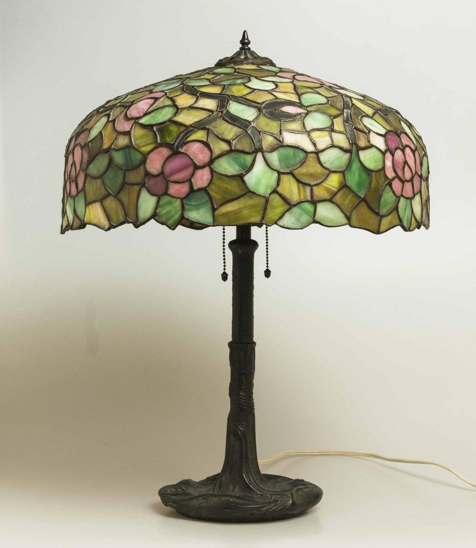 Art Nouveau Bronze Lamp, Attrib. Chicago Mosaic Lamps - 5