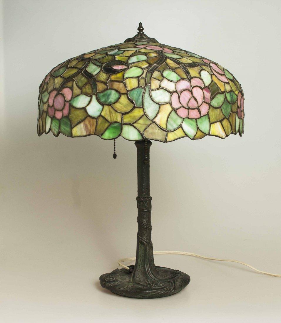 Art Nouveau Bronze Lamp, Attrib. Chicago Mosaic Lamps - 6