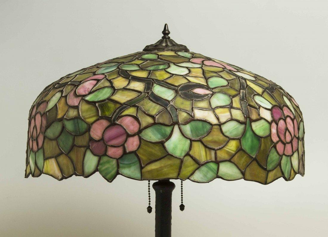 Art Nouveau Bronze Lamp, Attrib. Chicago Mosaic Lamps - 8