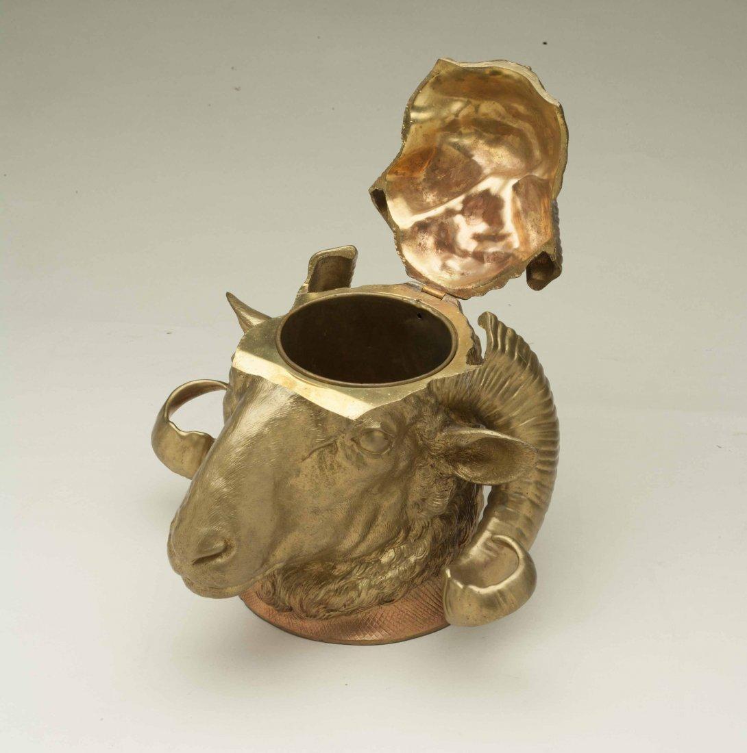 Gilt Bronze Ram Humidor - 2