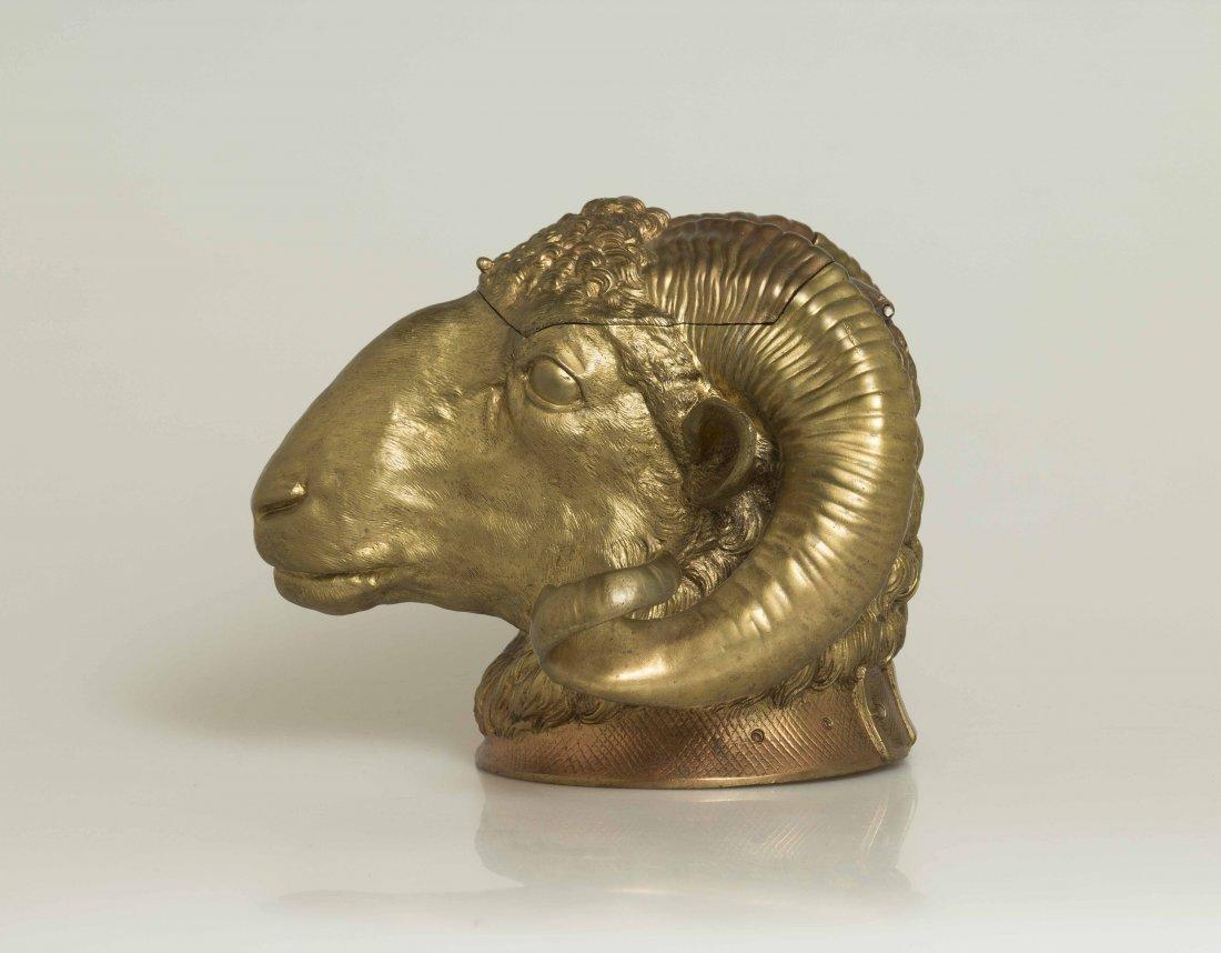 Gilt Bronze Ram Humidor - 9