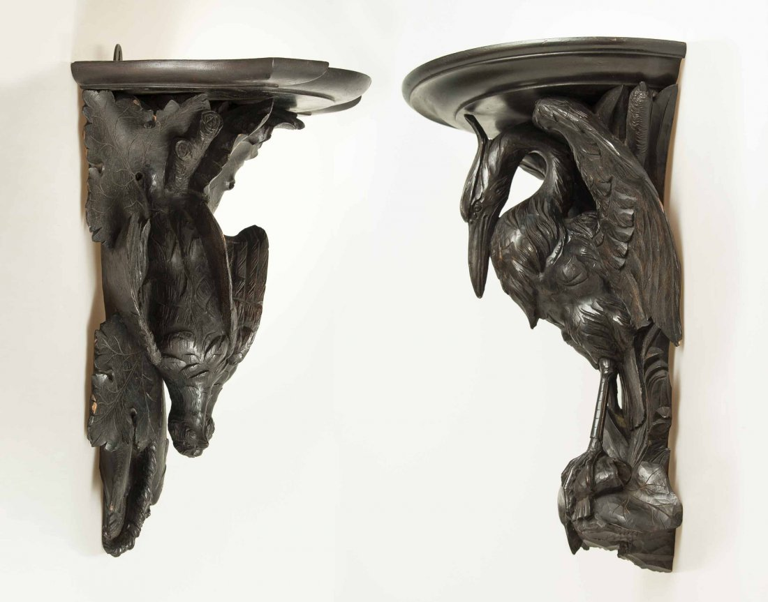 Two Black Forest Style Carved Hanging Shelves