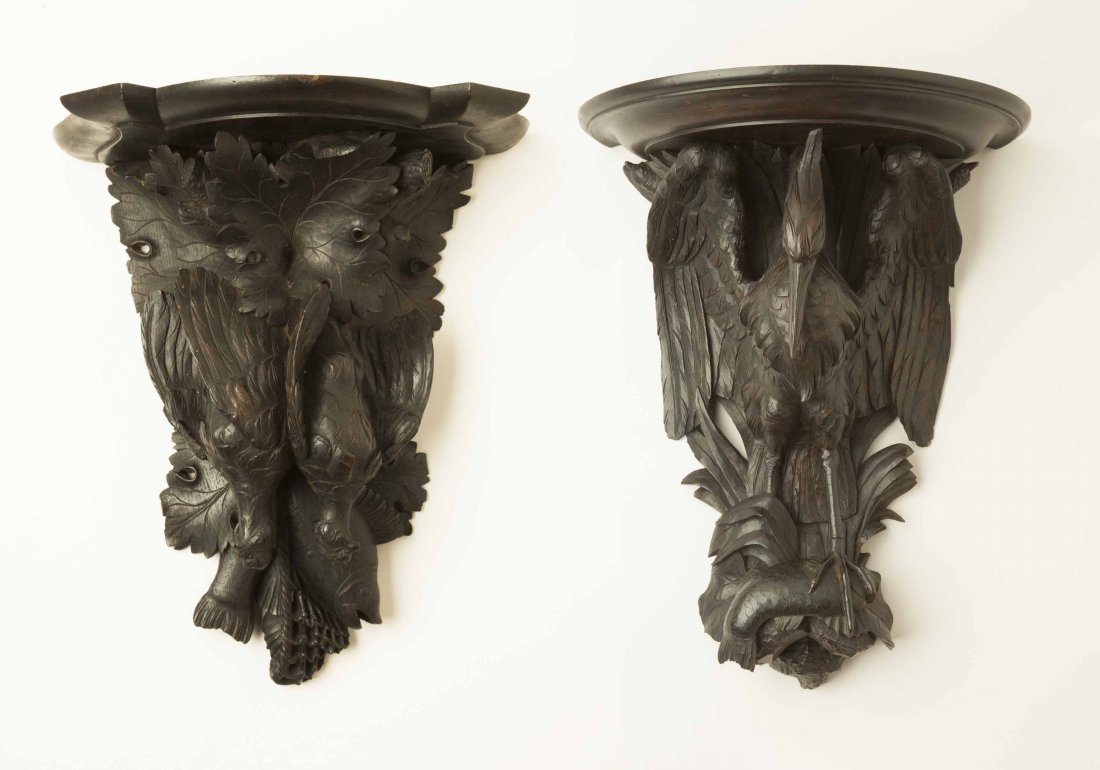 Two Black Forest Style Carved Hanging Shelves - 2