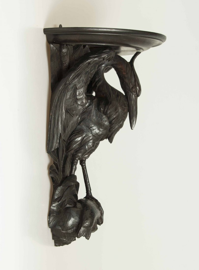 Two Black Forest Style Carved Hanging Shelves - 4