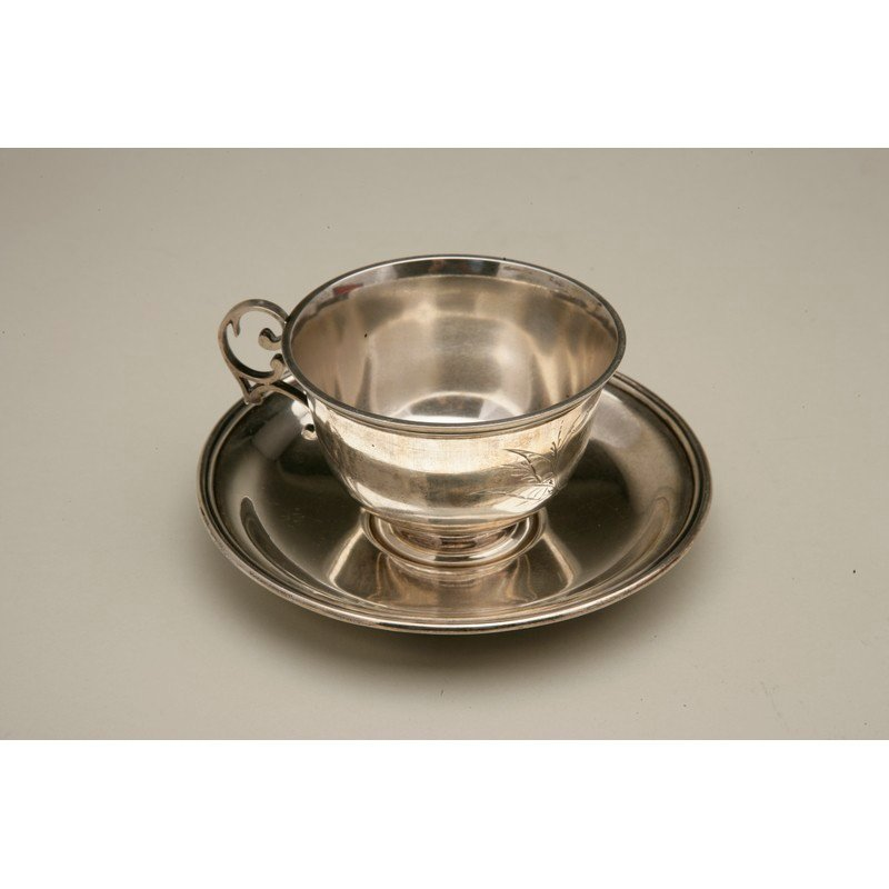 Friedrich Reichel (1856-1867) Silver Teacup & Saucer