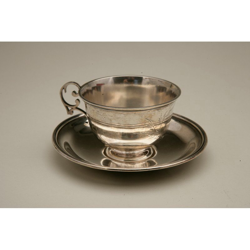Friedrich Reichel (1856-1867) Silver Teacup & Saucer - 2