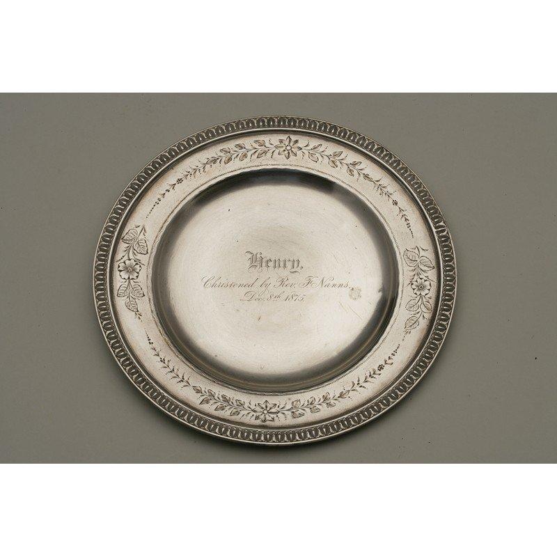 Schulz & Fischer (1863-1900) Silver Christening Plate