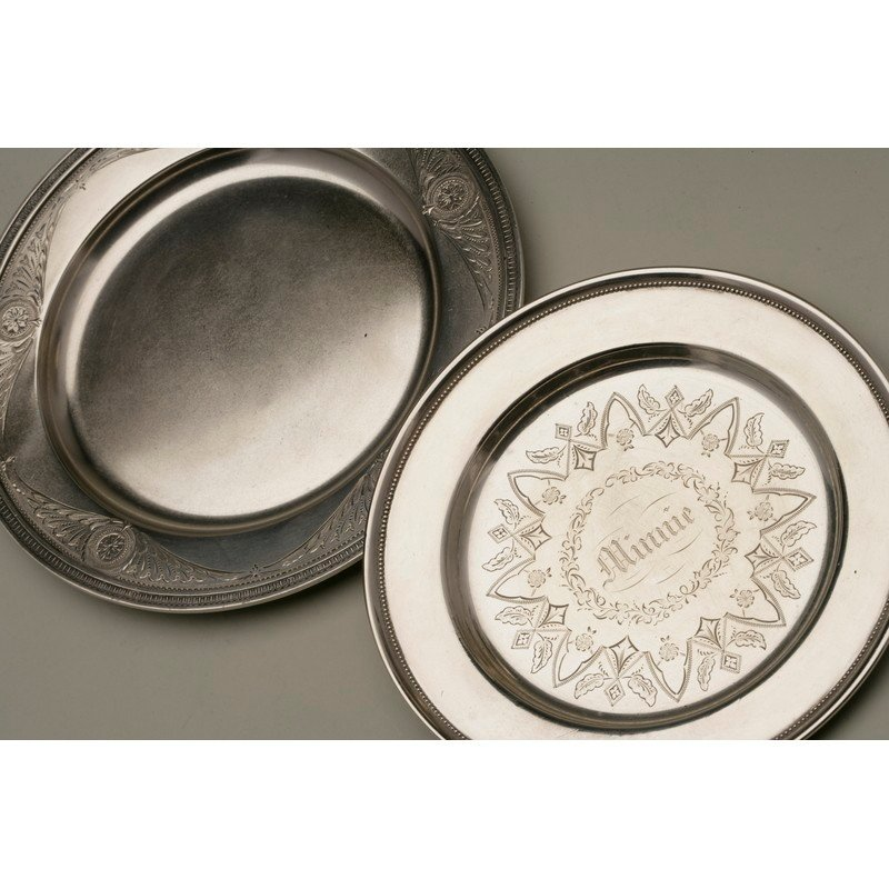 Koehler & Ritter (1868-1885) Two Silver Plates