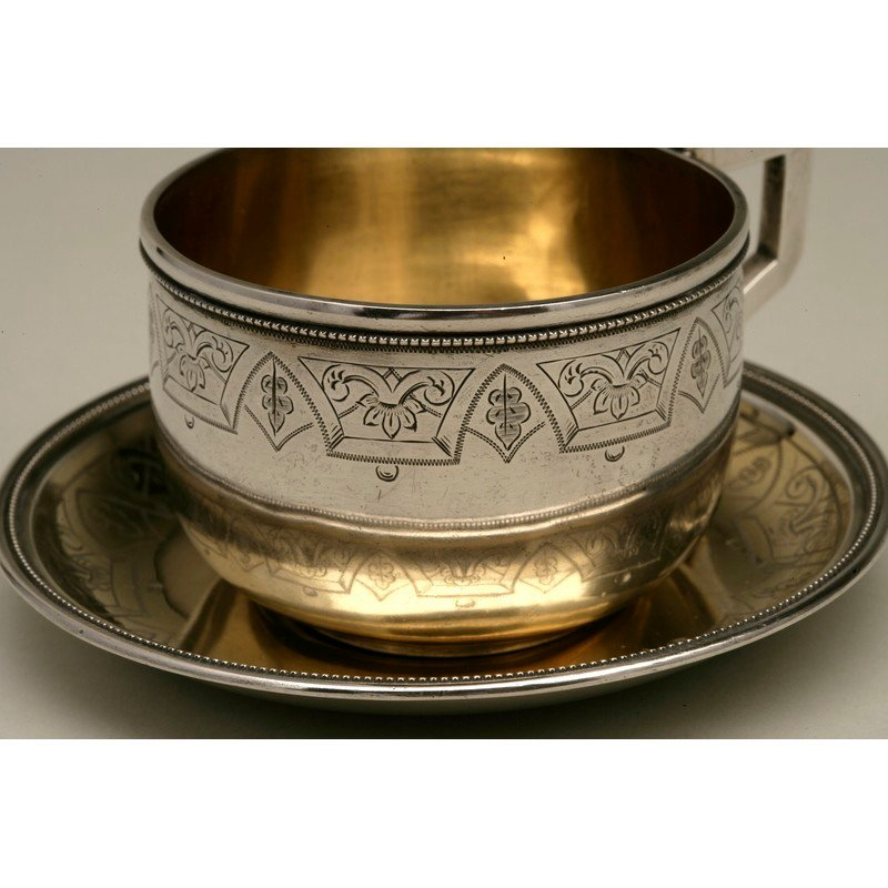 Coin Silver Cup and Saucer - 2
