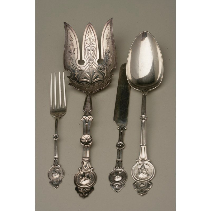 Six Pieces Silver Flatware and Serving Pieces,