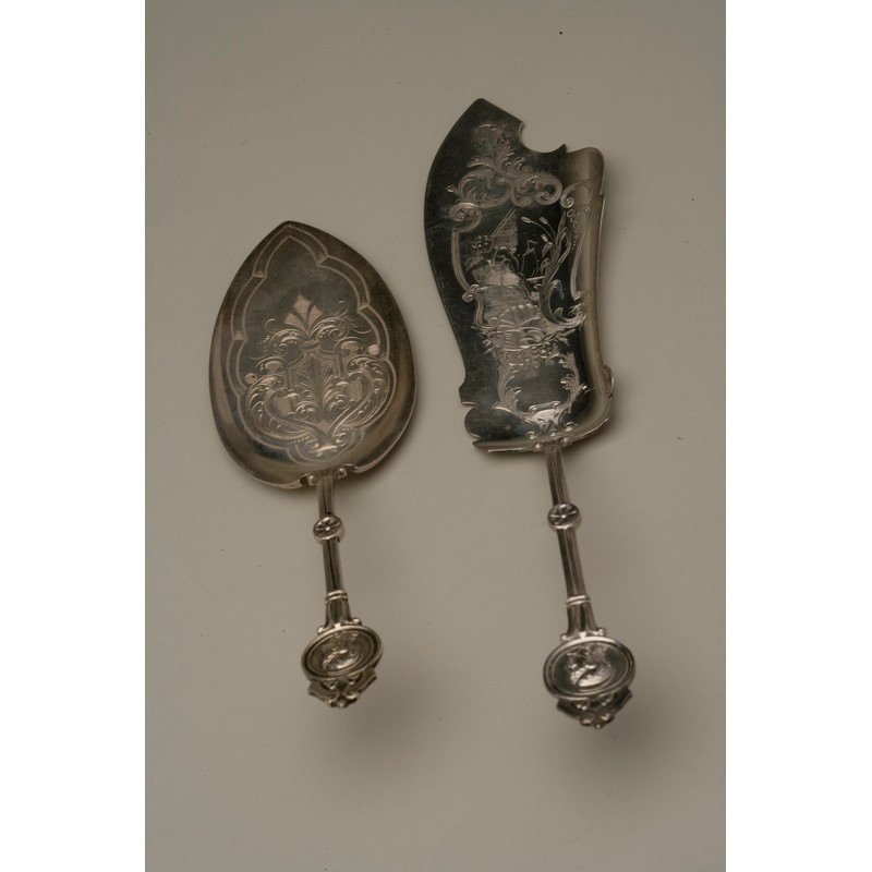 Coin Silver Pie Server and Fish Slice
