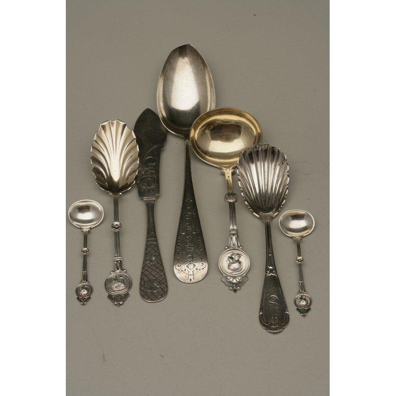 Seven Pieces Assorted Silver Flatware
