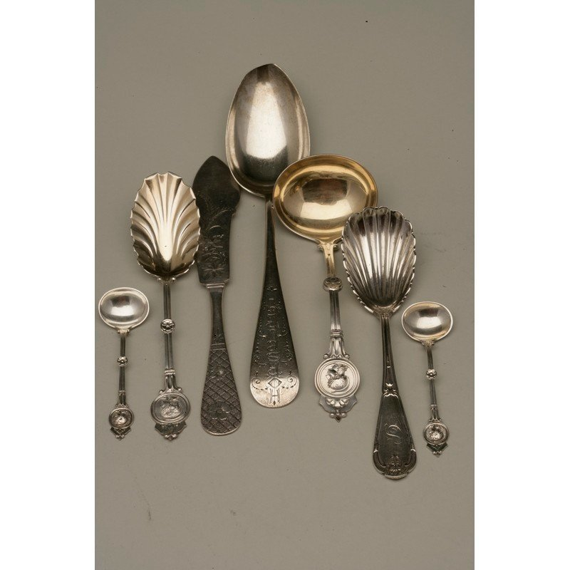 Seven Pieces Assorted Silver Flatware