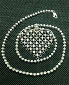 14k Tennis Necklace and Mesh Diamond Heart 4.25 CT