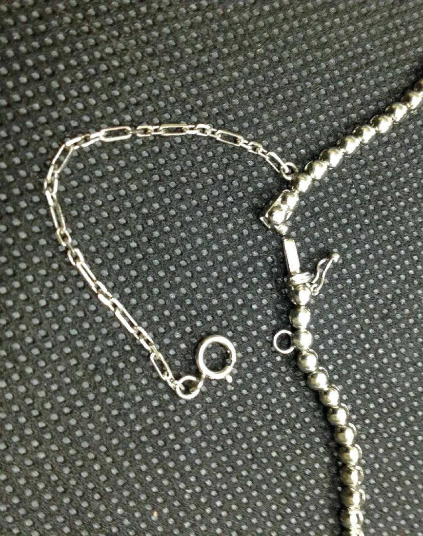 4Ct Tennis Platinum Necklace with Dangle Accents - 6
