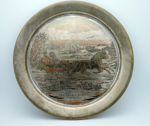 Danbury Mint 1972 Currier & Ives Sterling Plate  THE