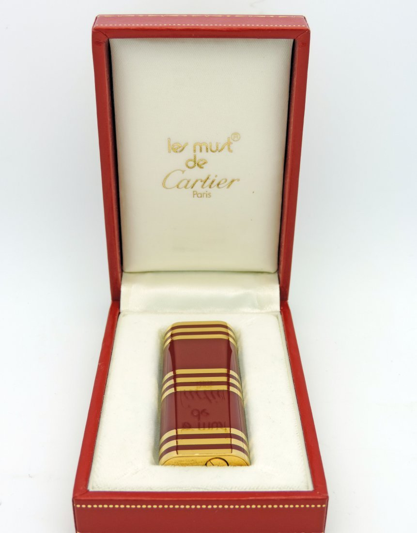 Cartier Red and Gold Lighter. Cartier Issued.  Signed