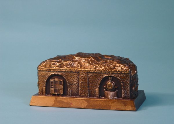 """4: """"Allegheny Mountain Tunnels""""  White Metal bank"""