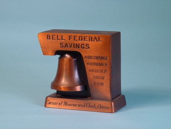 "9: ""Bell Federal Savings"" White Metal building bank"