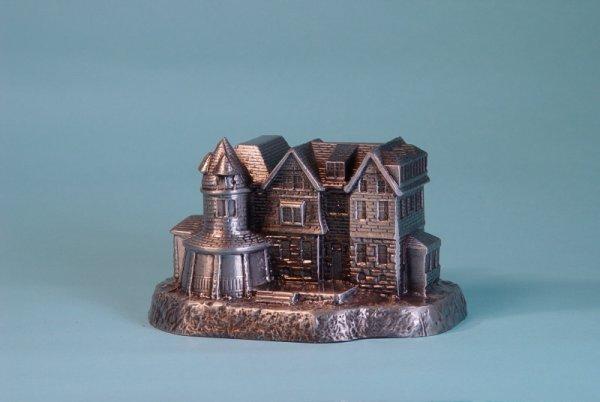 "16: ""The Brooke Mansion""  White Metal building bank"
