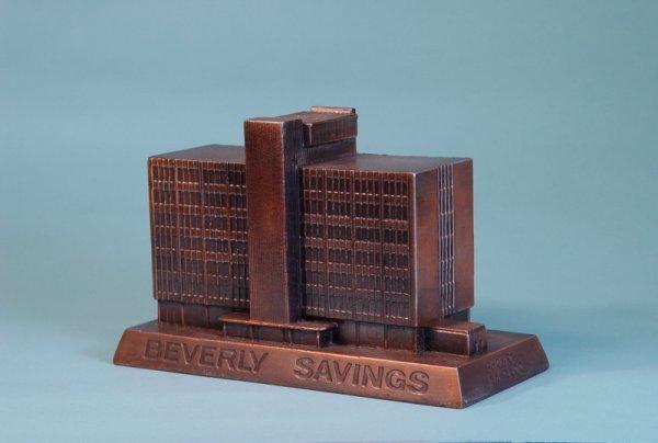 """21: """"Beverly Savings Bank""""  White Metal building bank"""