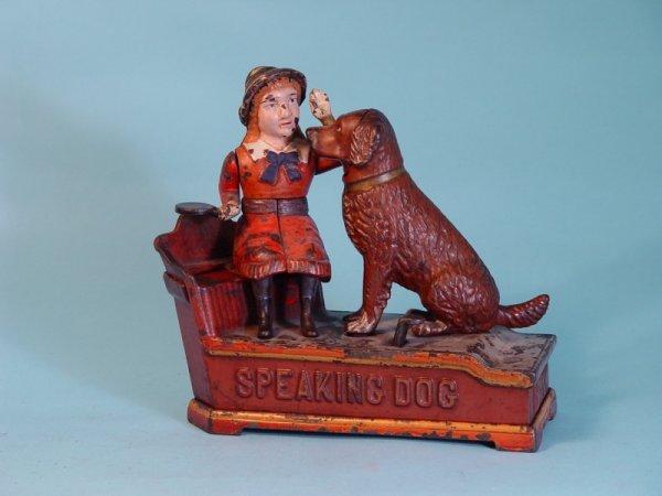 "321: ""Speaking Dog"" Cast Iron mechanical bank"