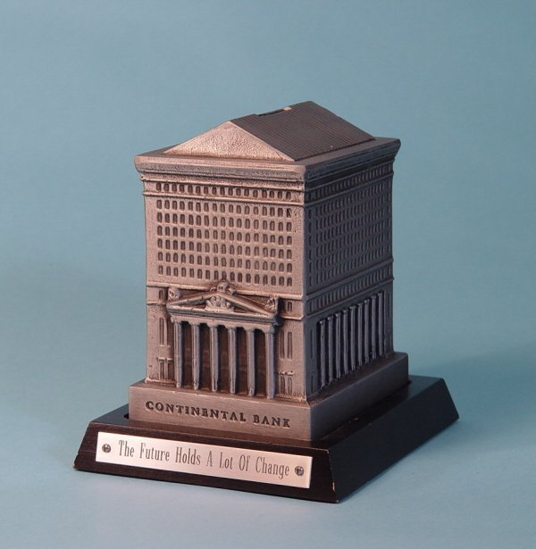 "447: ""Continental Bank"" White Metal building bank"