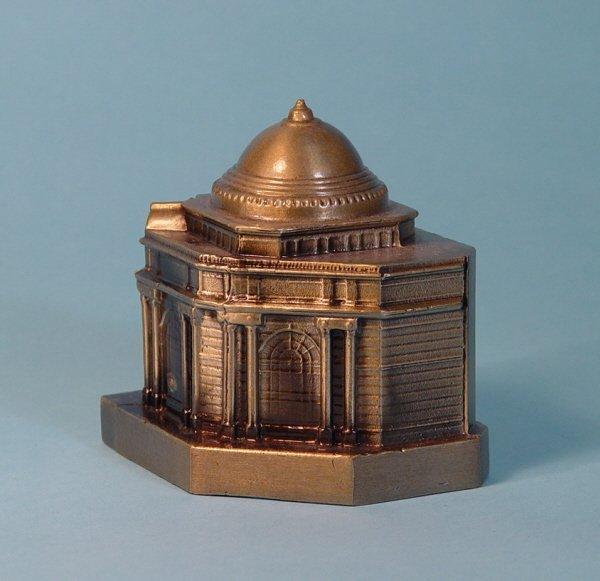 "448: ""Golddome"" White Metal building bank"