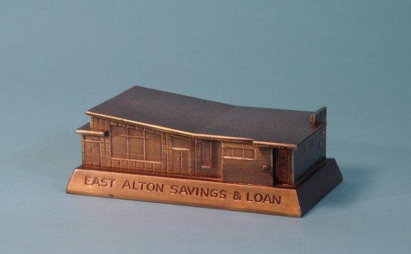 """457: """"East Alton Savings & Loan"""" White Metal bank"""