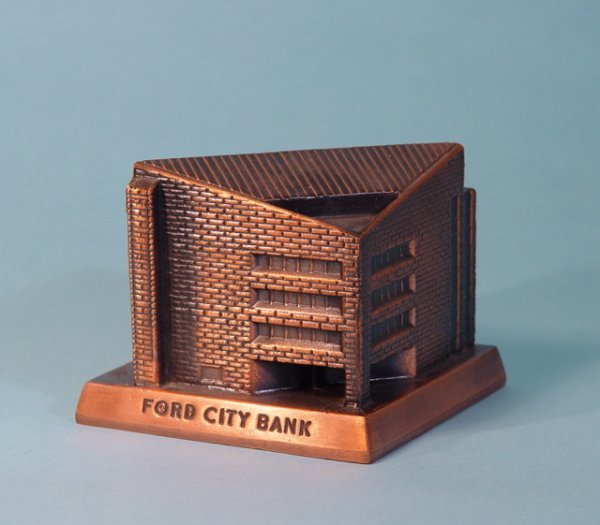 """460: """"Ford City Bank"""" White Metal building bank"""