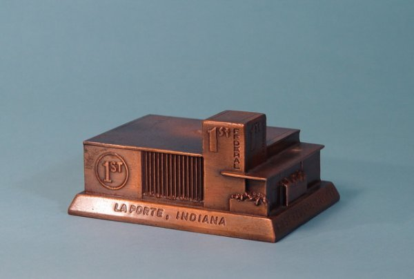 """462: """"First Federal of LaPorte"""" White Metal bank"""