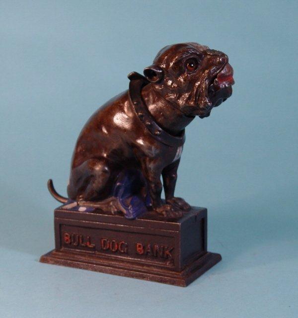 "676: ""Bull Dog Bank"" Cast Iron mechanical bank"