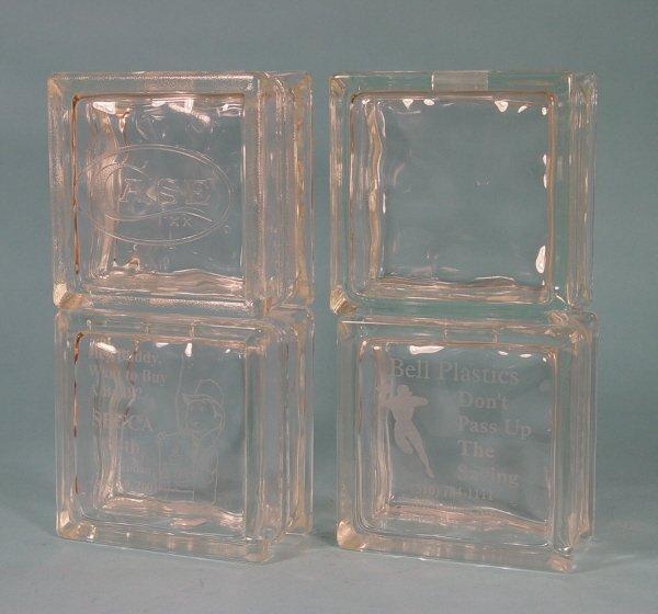 978: Lot of 4 6X6 Glass Block banks