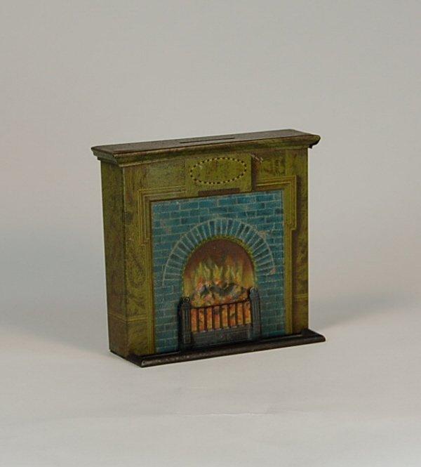 521: Fireplace English Tin bank