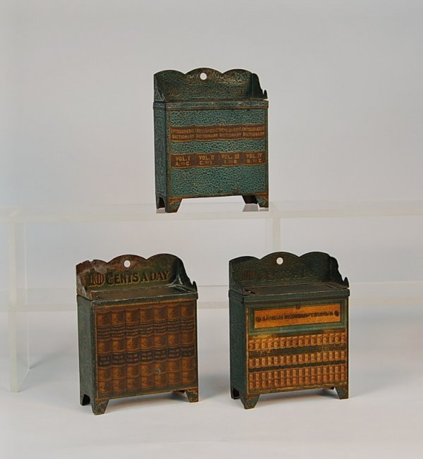 522: Lot of 3 Tin Bookcase advertising banks