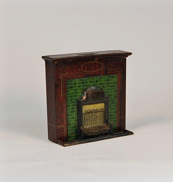 523: Fireplace English Tin bank