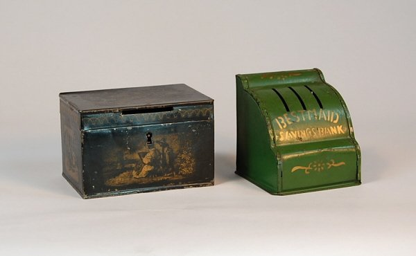 527: Lot of 2 Stenciled Tin banks
