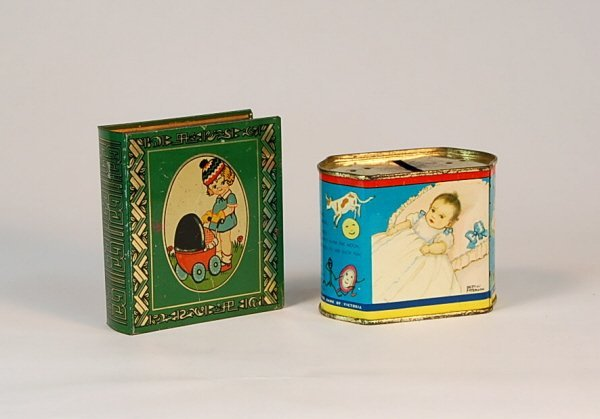 529: Lot of 2 Tin banks: Book, Canister.