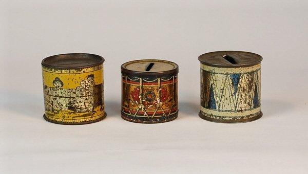 530: Lot of 3 Tin cylinder banks