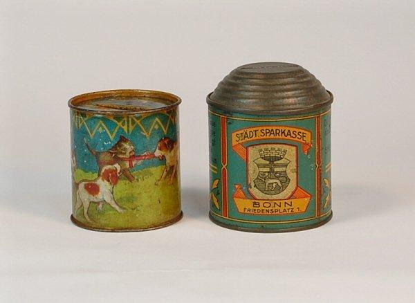 531: Lot of 2 Lithoed Tin cylinder banks