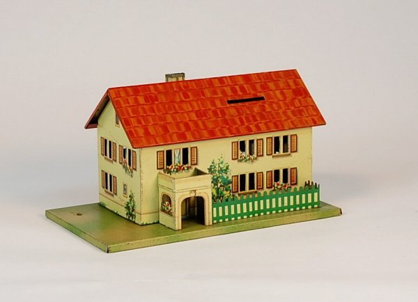535: Two-story Cottage w/portico Tin bank