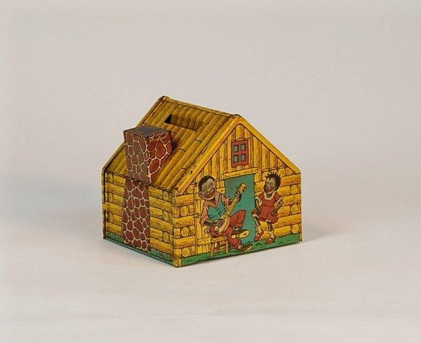 536: Chein Log Cabin Tin bank