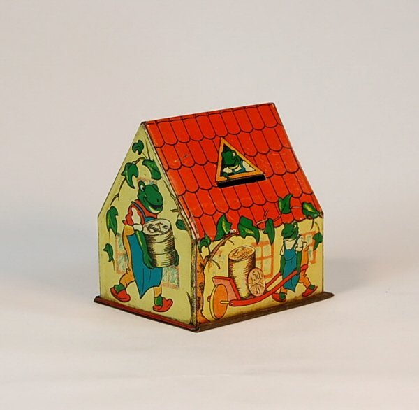 538: Thrifty Frogs Cottage Tin building bank