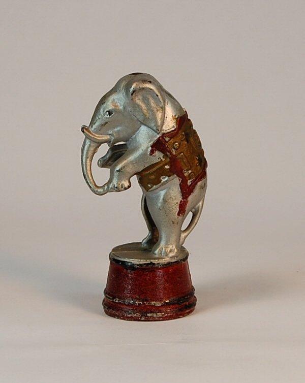 542: Decorated Elephant on tub Cast Iron bank