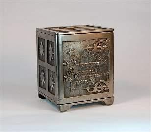 """992: """"John G Seegar"""" Cast Iron safe bank"""