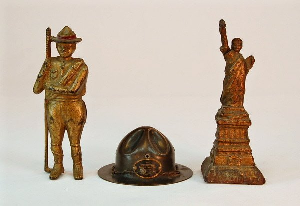 8: Boyscout, Campaign Hat, & Statue of Liberty banks