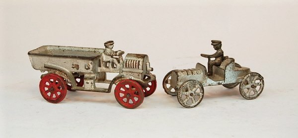 411: Lot of Two early Automotive toys: Truck & Fliver
